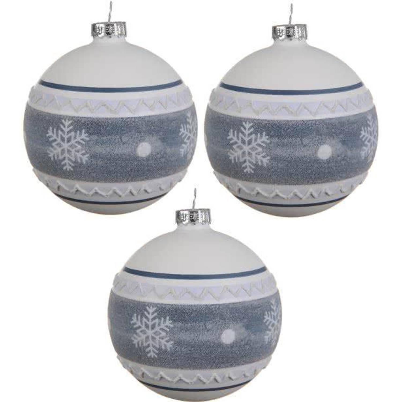 Glas Kerstballen Snowflake Box 3 Stuks Blue