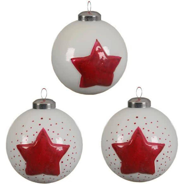Glas Kerstballen Ster (8,5cm) Box 3 Stuks Red White