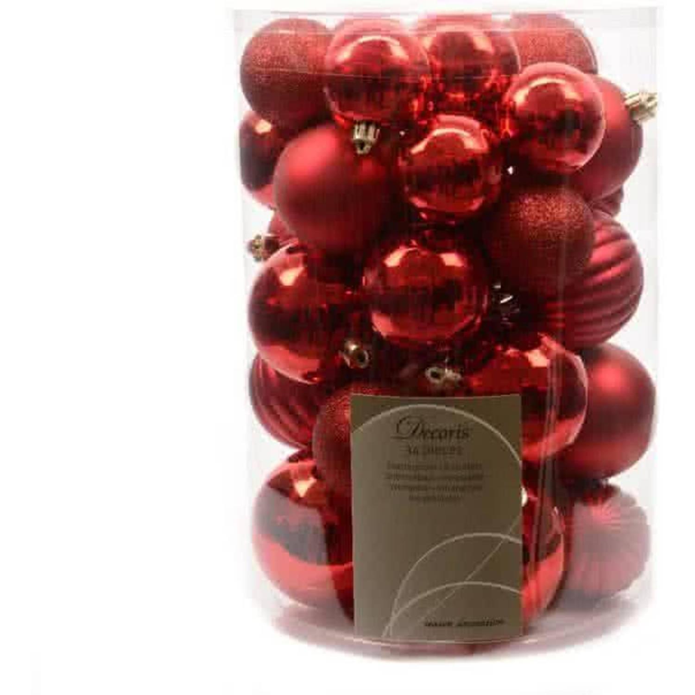 Kerstballen Mix Box 34 Stuks Rood