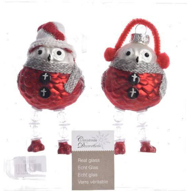 Glas Kerstballen Uil Box 2 Stuks Red White