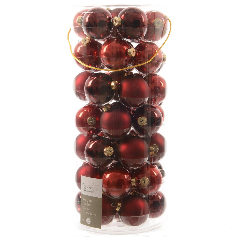 Glas Kerstballen Mix (6cm) Box 49 Stuks Red
