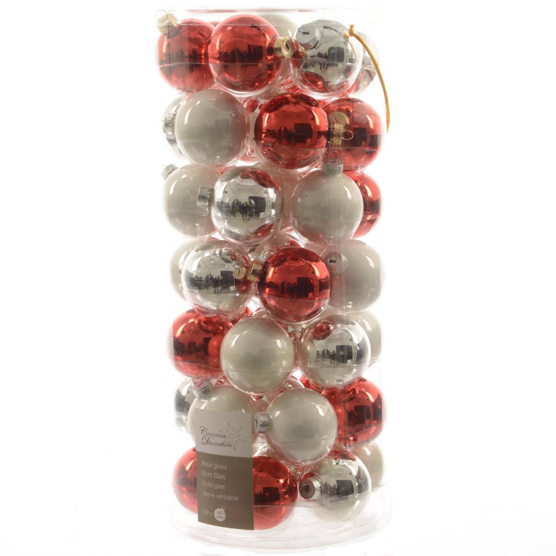 Glas Kerstballen Mix (60mm) Box 49 Stuks Rood-Witte Mix