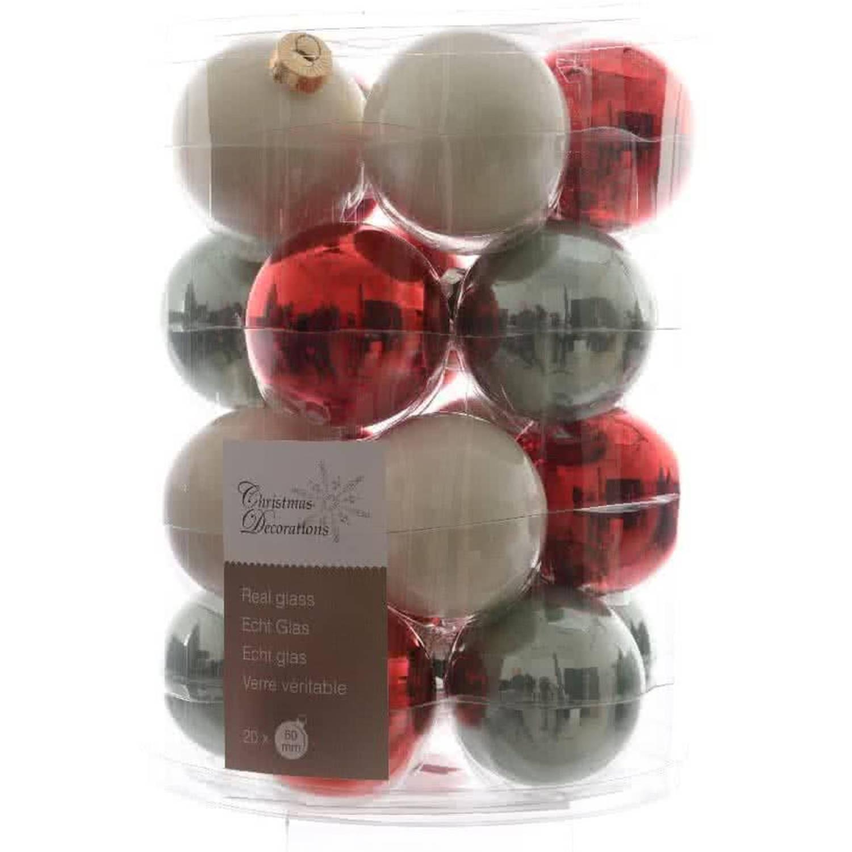 Glas Kerstballen Mix (60mm) Box 20 Stuks Christmas Time