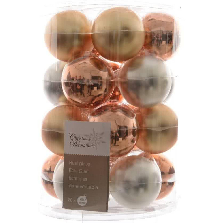Glas Kerstballen Mix (60mm) Box 20 Stuks Metallic
