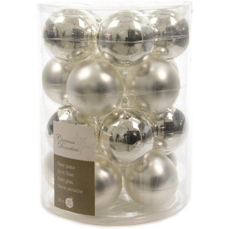 Glas kerstballen box 20 stuks zilver