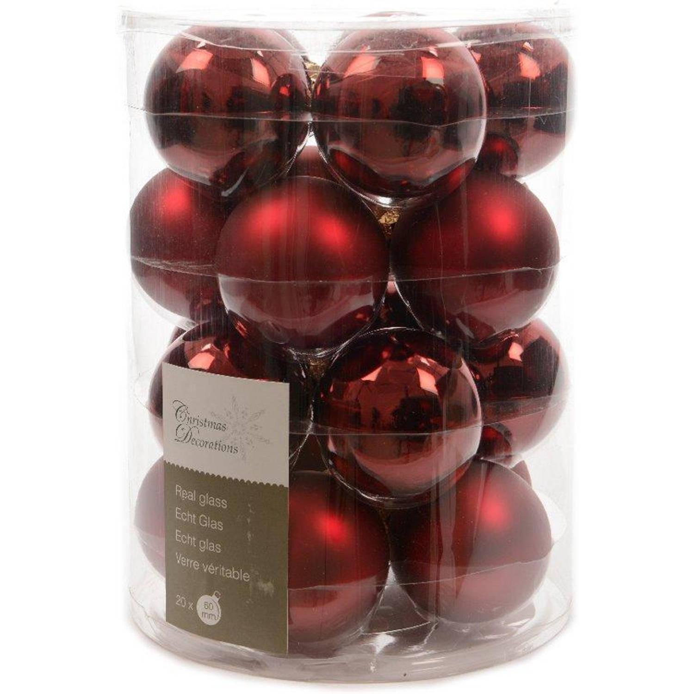 Glas kerstballen 20 stuks Ossenbloed