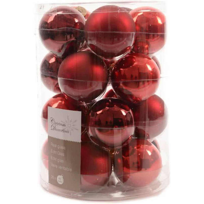 Glas Kerstballen Mix (6cm) Box 20 Stuks Red