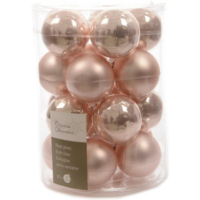 Glas kerstballen 20 stuks Poeder roze