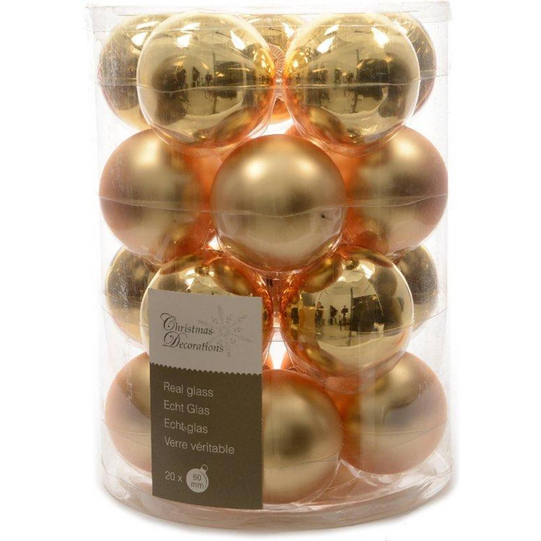 Glas kerstballen 20 stuks box Lichtgoud