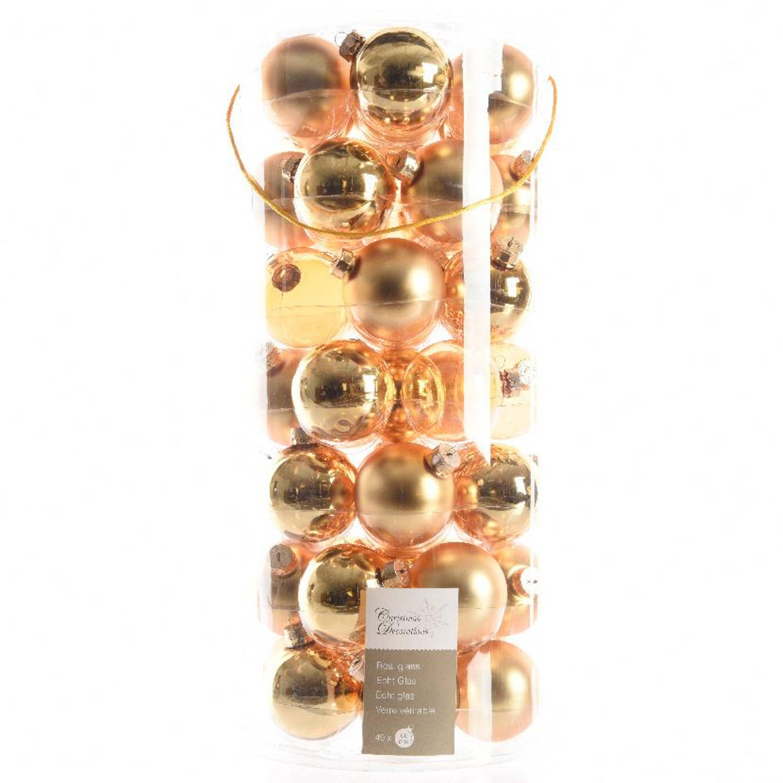 Glas Kerstballen Transparant (6cm) Box 49 Stuks Light Gold