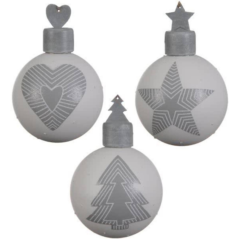 Glas Kerstballen Stripe Design Box 3 Stuks Grey