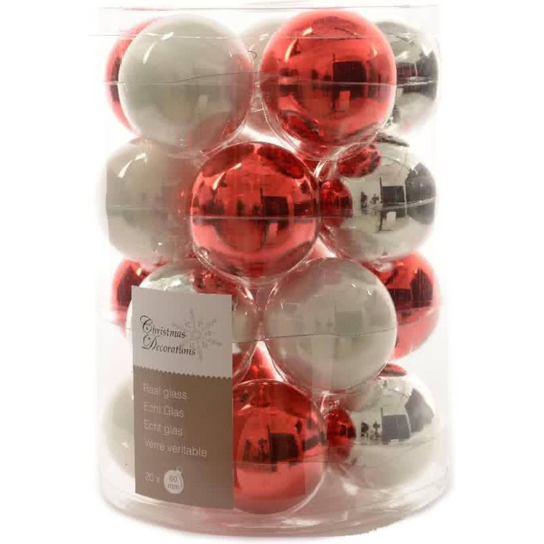 Glas Kerstballen Mix (60mm) Box 20 Stuks Rood-Witte Mix