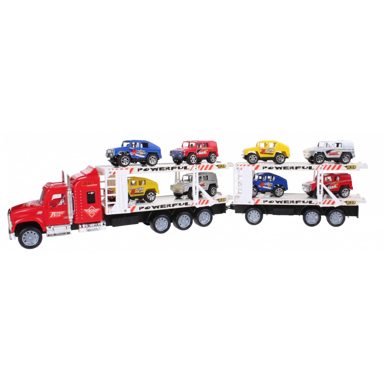 Diakakis vrachtwagen jeeptransporter dubbel rood 1:32