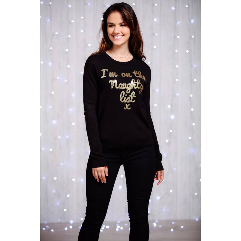 Dames kersttrui zwart met gouden pailletten M (38)