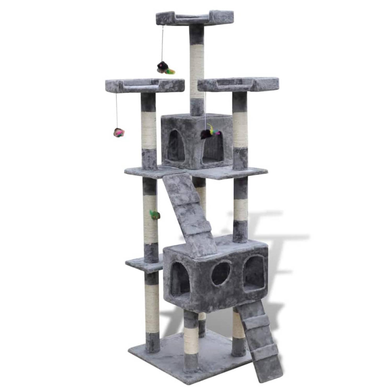 vidaXL Kattenkrabpaal 170 cm 2 vakken grijs
