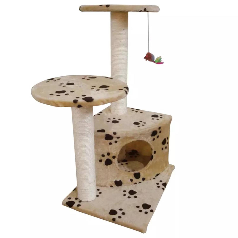 Kattenkrabpaal Lucky 70 cm (beige) met pootafdrukken