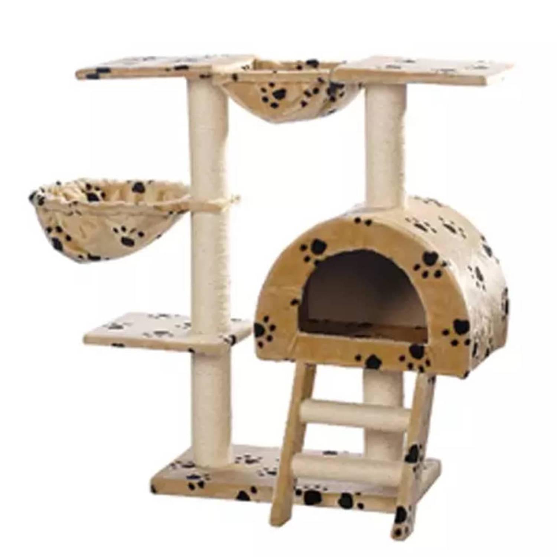 Kattenkrabpaal Jaapie 105 cm (beige) met pootafdrukken