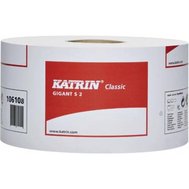 Katrin toiletpapier Classic Gigant, 2-laags, 1600 vellen, pak van 12 rollen