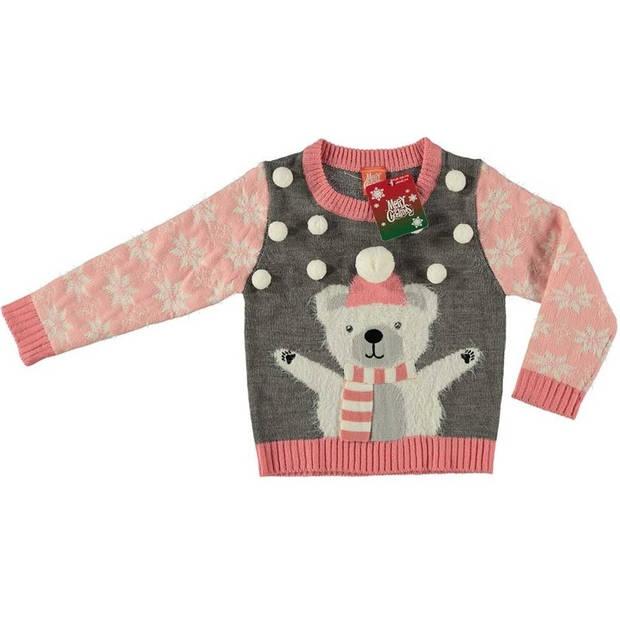 Grijze kersttrui ijsbeer voor kinderen - Foute kersttruien meisjes 92/98 (2/3 jaar)