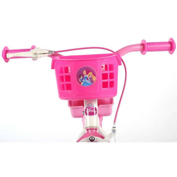 Disney princess kinderfiets 12 Inch wielen - wit/roze