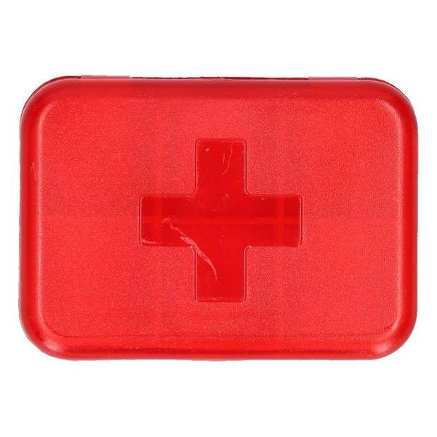 Compact pillendoosje / medicijndoos - rood - 6 vakken - zakmodel