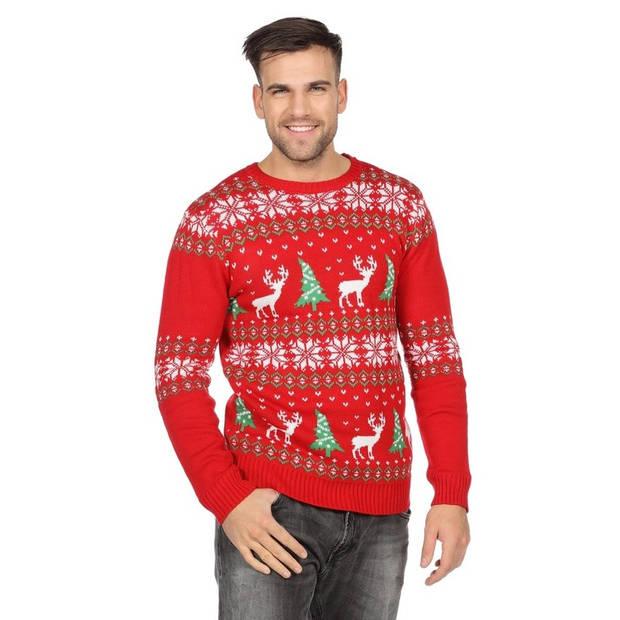 Rode kerst trui met rendieren en kerstbomen voor heren 56 (2XL)