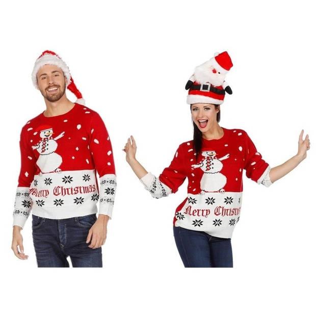 Rood/witte kerst trui met sneeuwpop voor volwassenen 54 (XL)