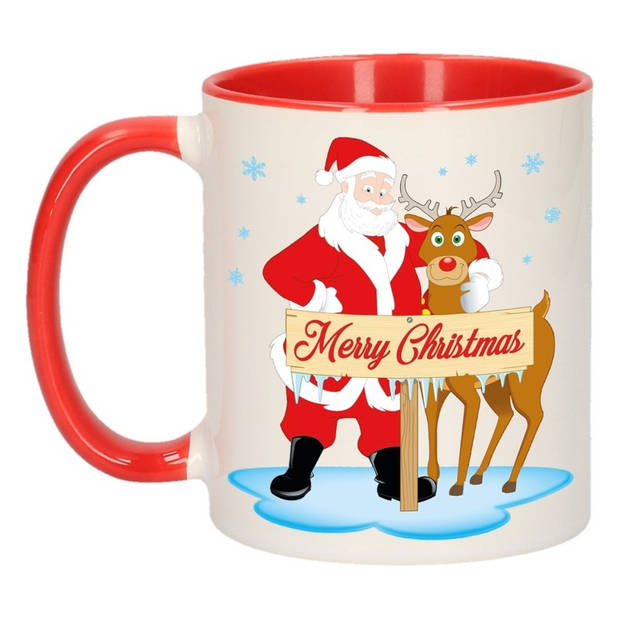 Kerstmok Rudolph en Santa beker - 300 ml - keramiek - koffiebeker