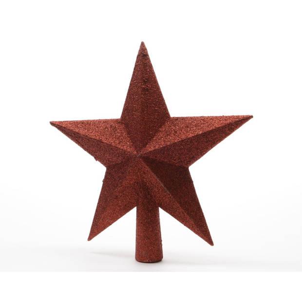 Piek plastic ster glitter diameter 19 cm kerstrood