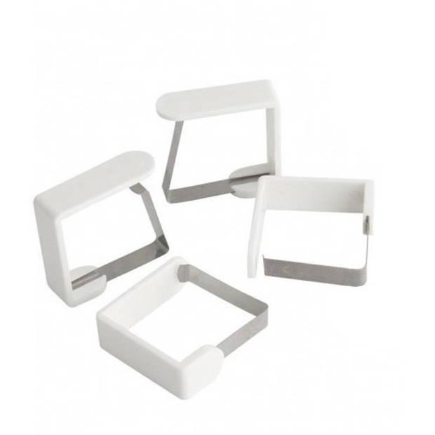 Fackelmann tafelkleedklemmen 4 stuks wit 45 mm