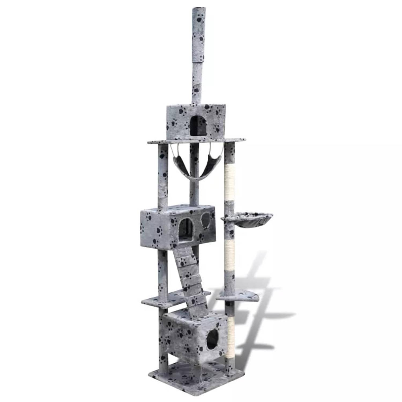 Kattenkrabpaal Tommie 220/240 cm 3 huisjes (grijs) met pootafdrukken