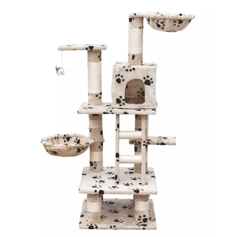 Kattenkrabpaal Jerry 122 cm (beige) met pootafdrukken