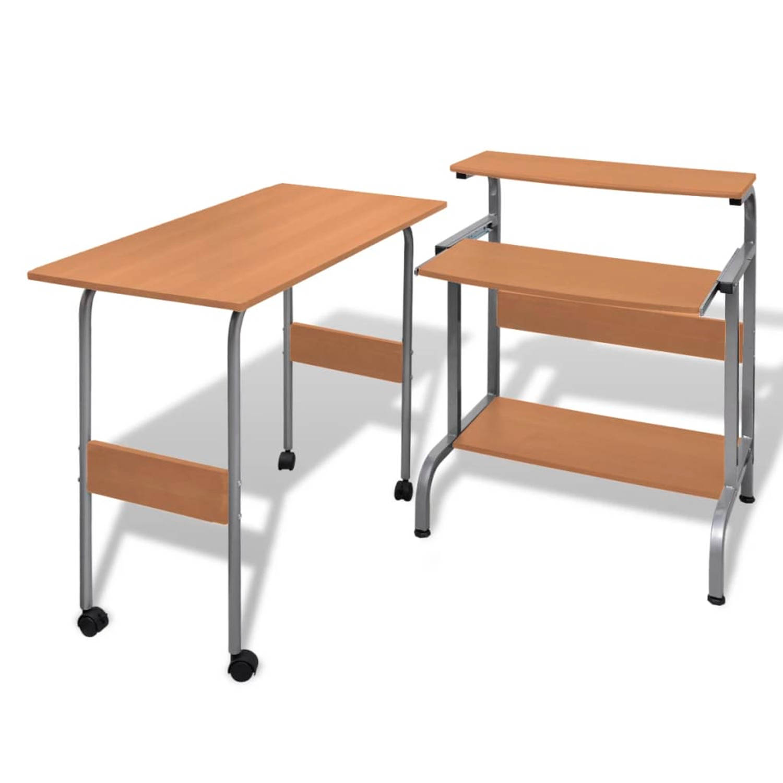 2-delige computer bureauset (bruin)
