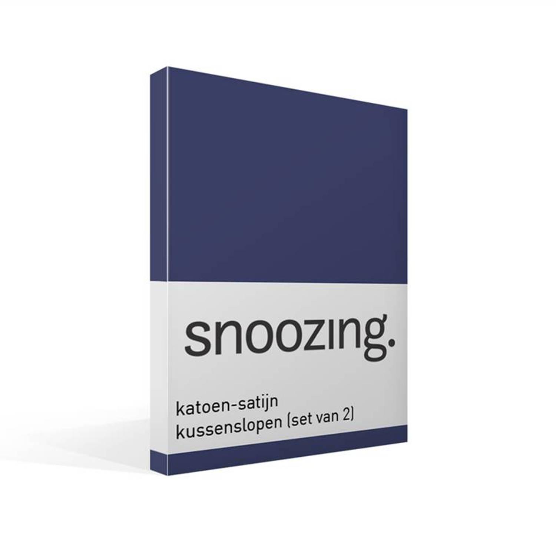Snoozing katoen-satijn kussenslopen (set van 2) - 100% katoen-satijn - 60x70 cm - Standaardmaat - Blauw