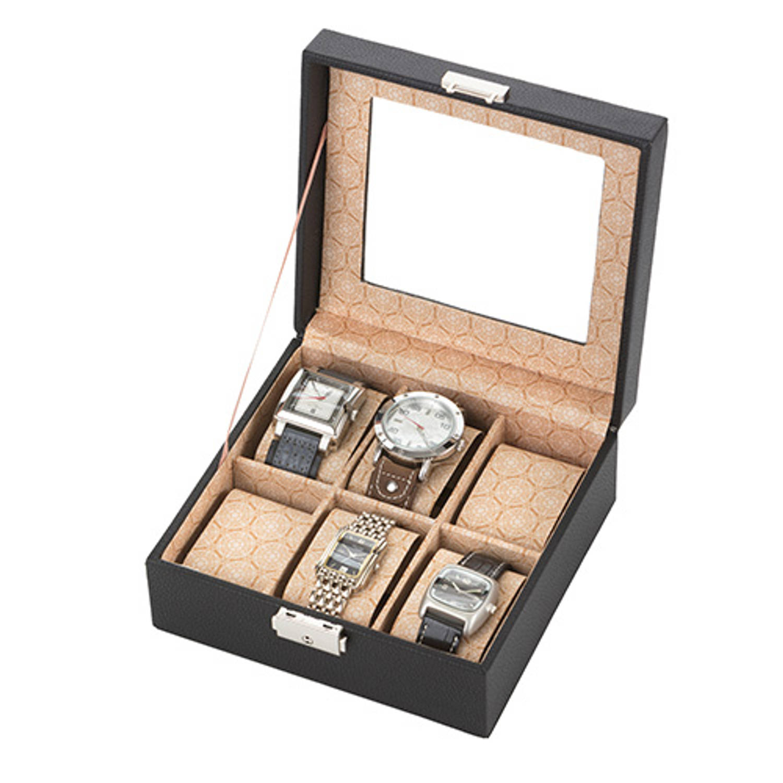 Horlogedoos - Horlogebox met kussentjes voor 6 horloges - Zwart - 18 x 18 x 9 cm