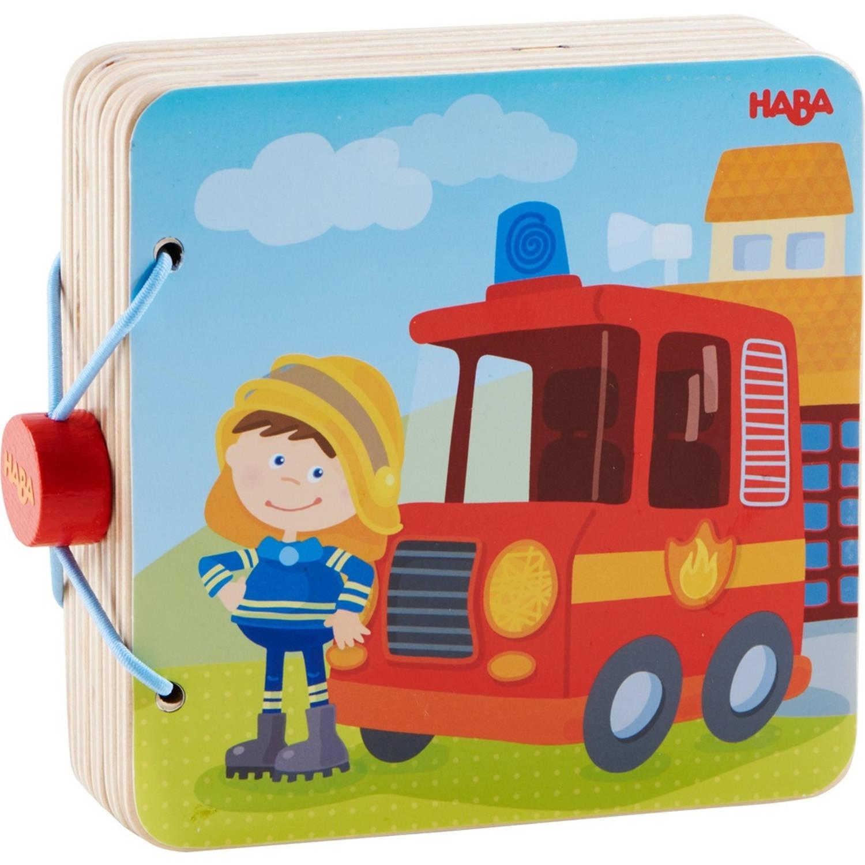 Haba houten babyboek brandweer 14 cm