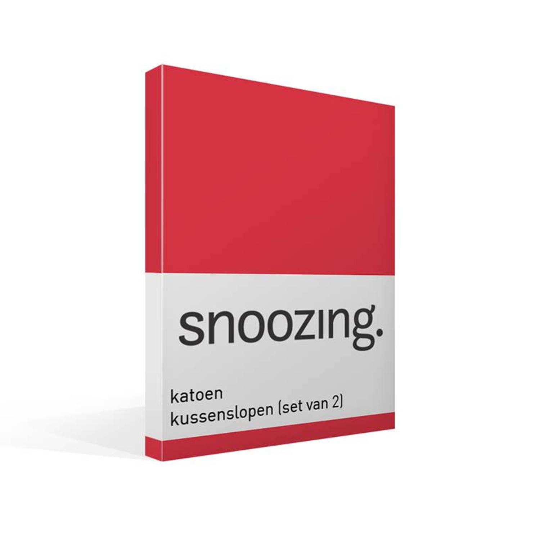 Snoozing - Kussenslopen - Set Van 2 - Katoen - 40x60 - Rood