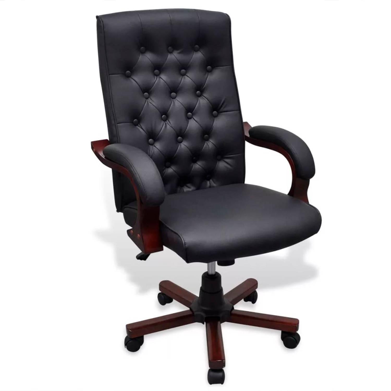Bureaustoel Directie S210 Zwart Leer Met Hout.Bureaustoel Directie S280 Zwart Shop Via Interieur Webwinkel