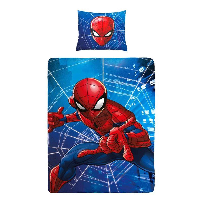 DC Comics Spiderman dekbedovertrek - 100% katoen - 1-persoons (140x200 cm + 1 sloop) - 1 stuk (60x70 cm) - Blauw