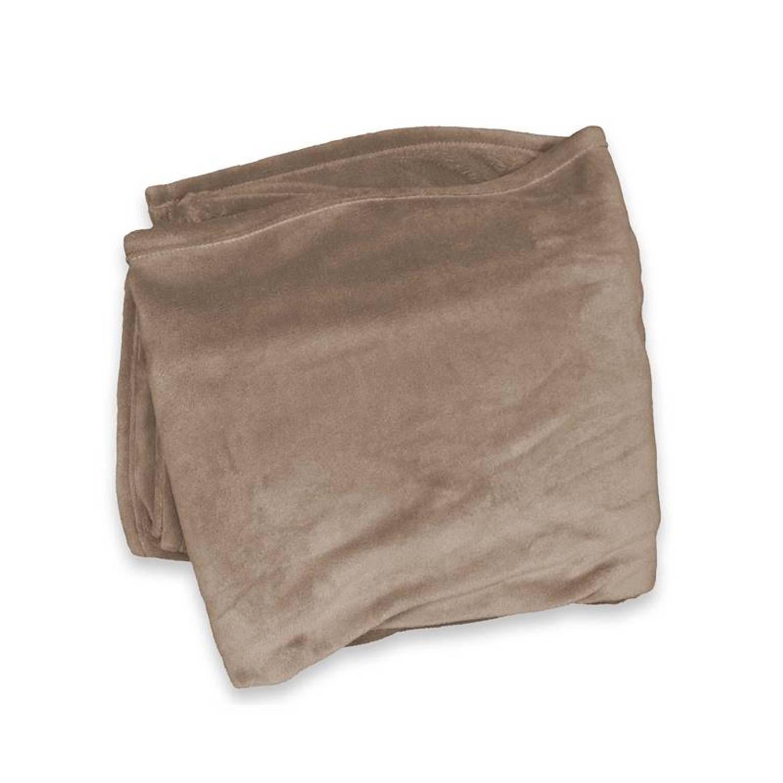 Unique Living Enzo fleece Plaid - 100% polyester, Fleece polyester - 130x180 cm - Taupe