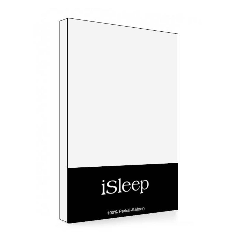 iSleep Split-Topper hoeslaken Perkal Katoen - Wit - 180x200