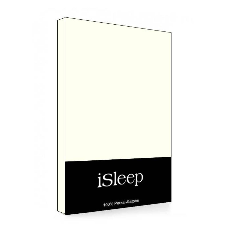 iSleep Split-Topper hoeslaken Perkal Katoen - Licht Beige - 160x200
