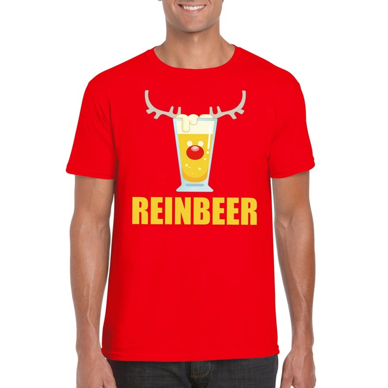 Foute Kerst t-shirt Reinbeer rood voor heren XL