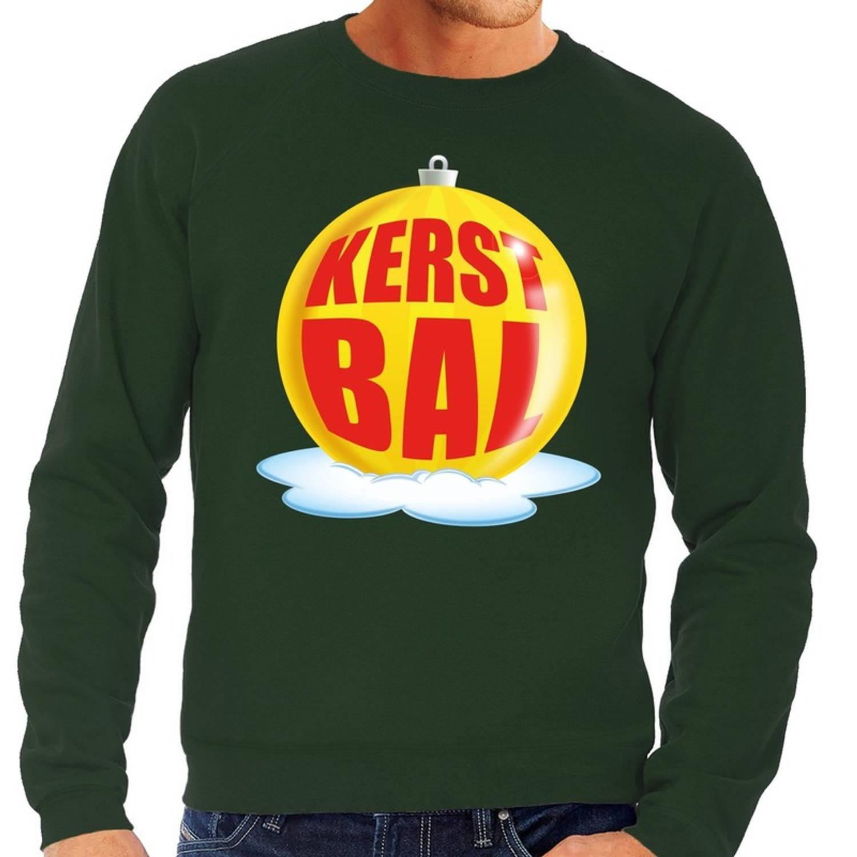 Foute kersttrui kerstbal geel op groene sweater voor heren - kersttruien L (52)