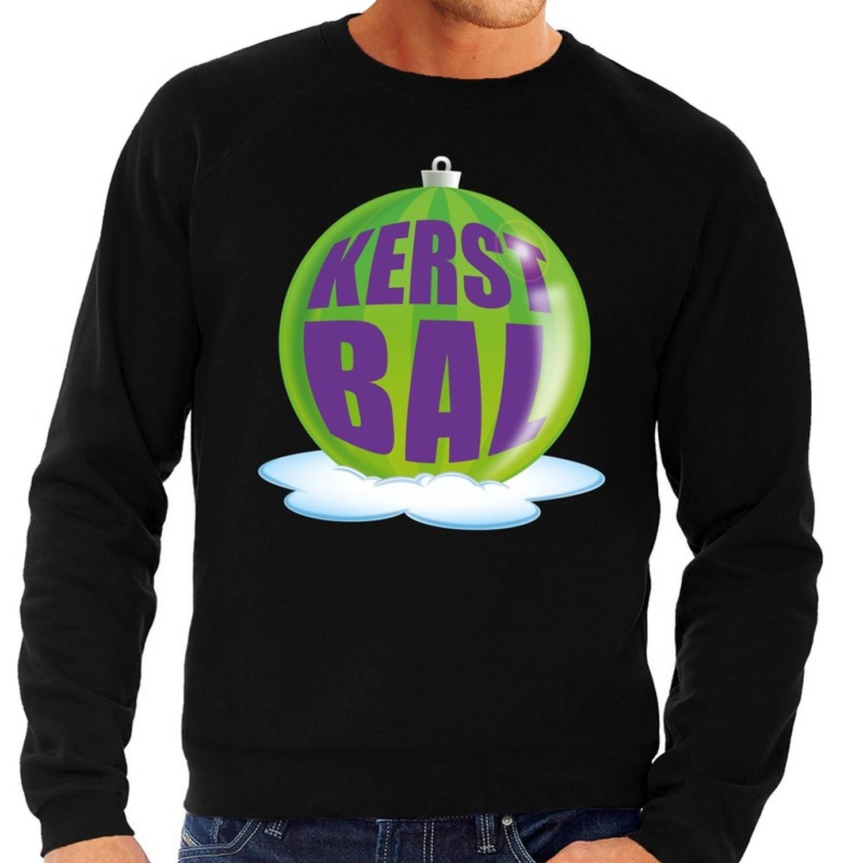 Foute kersttrui kerstbal groen op zwarte sweater voor heren - kersttruien XL (54)