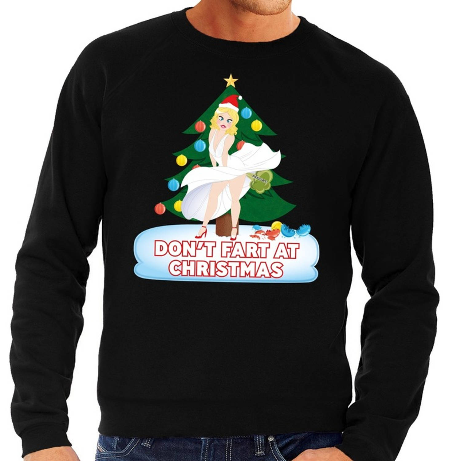 Foute kersttrui / sweater zwart - Marilyn Monroe - Dont Fart at Christmas S (48)