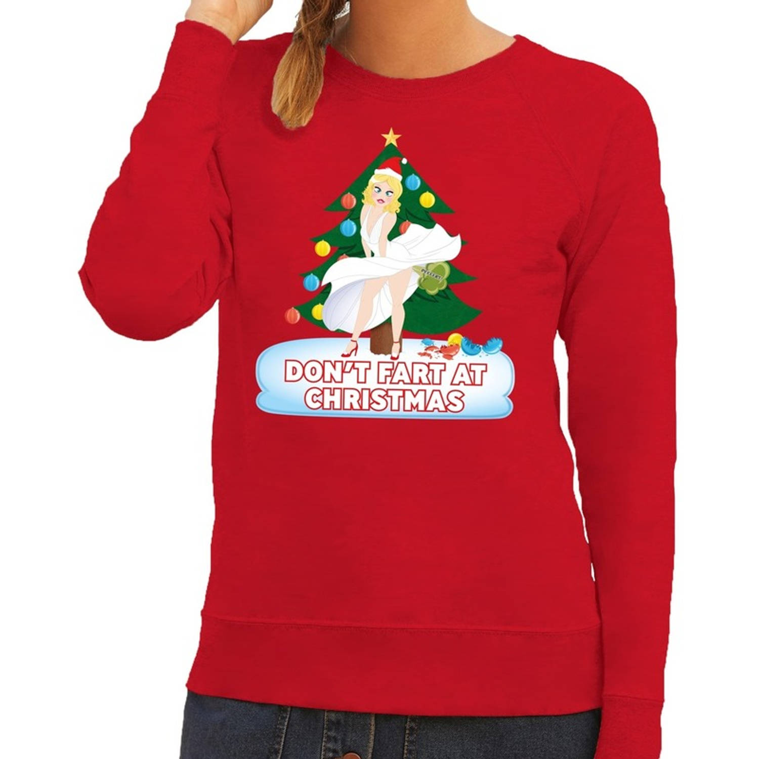 Foute kersttrui / sweater rood - Marilyn Monroe - Dont Fart at Christmas XS (46)