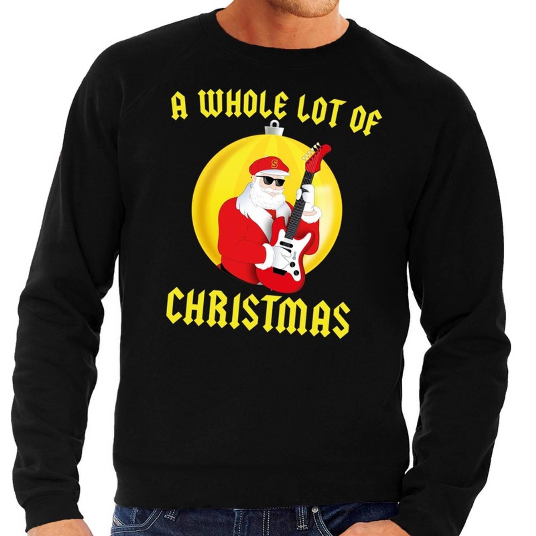 Foute kersttrui sweater A Whole Lot of Christmas voor heren zwart Kerstman Angus met gitaar S (48)