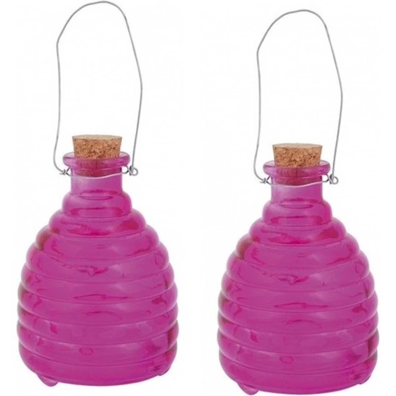 2x Wespenvanger roze - 14 cm - wespenval / wespenvanger