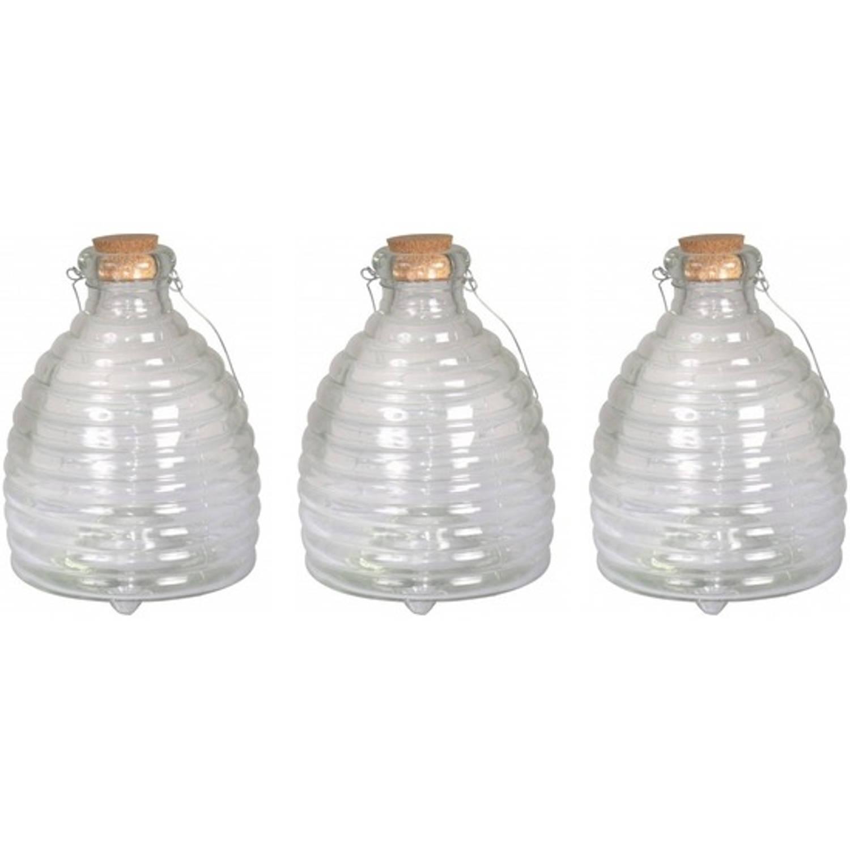 3x Grote wespenvangers van glas 19 cm